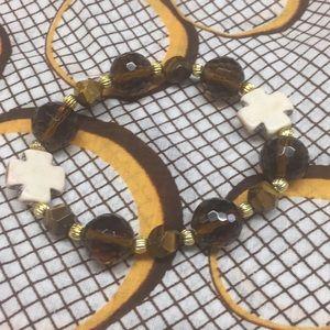 Cross Tigereye Glass Beaded Bracelet